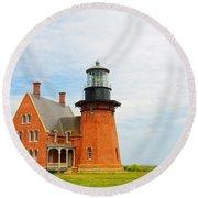 Block Island Southeast Lighthouse Artwork Round Beach Towel
