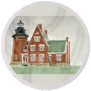 Block Island Southeast Lighthouse Round Beach Towel