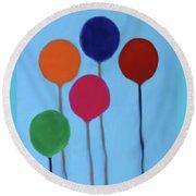 Blocks And Balloons Round Beach Towel by Deborah Boyd