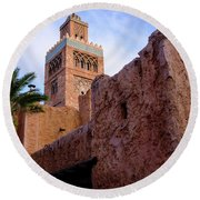 Blocks And High Tower Architecture From Orlando Florida Round Beach Towel