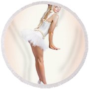 Blond Fashion Pin-up Woman In White Dancer Dress Round Beach Towel