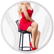 Blond Female Bistro Babe On Bar Stool In Red Dress Round Beach Towel