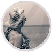 Blond Woman Looking To The Horizon. Round Beach Towel