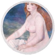 Blonde Bather II Round Beach Towel