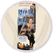 Blonde Ice Film Noir Round Beach Towel