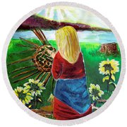 Blonde Indian Weaves Her Basket By A Lake Round Beach Towel