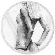 Blonde Nude2 Round Beach Towel