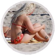 Blondie Braids Round Beach Towel