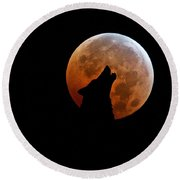 Blood Full Moon And The Wolf Round Beach Towel