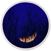 Blood Moon And Winter Trees Round Beach Towel