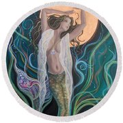 Blood Moon Goddess  Round Beach Towel