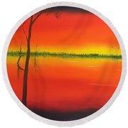 Blood Orange Sunset Round Beach Towel