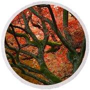 Blood Red Autumn Tree Round Beach Towel