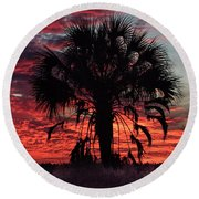 Blood Red Sunset Palm Round Beach Towel