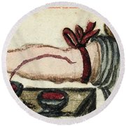 Bloodletting, Illustration, 1675 Round Beach Towel