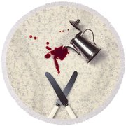 Bloody Dining Table Round Beach Towel by Joana Kruse
