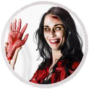 Bloody Zombie Woman With Severed Hand Round Beach Towel