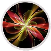 Bloom With Red Round Beach Towel