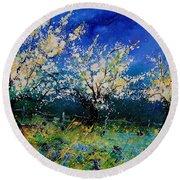 Blooming Appletrees 56 Round Beach Towel