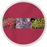 Blooming Bromeliads Collage Round Beach Towel