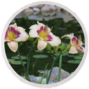 Blooming By The Pond Round Beach Towel