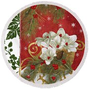 Blooming Christmas II Round Beach Towel