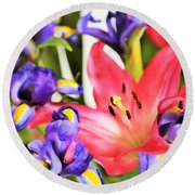 Blooming Colors Round Beach Towel