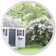 Blooming Tree Next To Shed Round Beach Towel