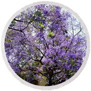 Blooming Tree With Purple Flowers Round Beach Towel
