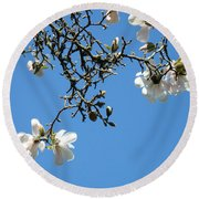 Blooming Trees Art Print White Magnolia Flowers Baslee Troutman Round Beach Towel