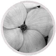 Blossom In Black And White Round Beach Towel
