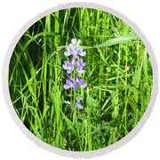 Blossom In The Grass Round Beach Towel