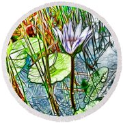 Blossom Lotus Flower In Pond Round Beach Towel