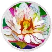 Blossom Lotus Flower Round Beach Towel