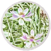 Blossom Pink Lotus Flower Round Beach Towel