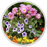 Blossoming Flowers Round Beach Towel