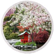 Blossoms Abound In The Japanese Garden Round Beach Towel
