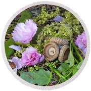 Blossoms And Acorn Round Beach Towel