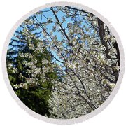 Blossoms And The Bard Round Beach Towel