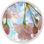 Blossoms Art Prints 52 Pink Tree Blossoms Nature Art Blue Sky Round Beach Towel