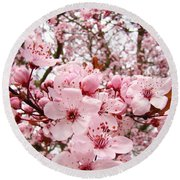 Blossoms Art Spring Pink Tree Blossom Floral Baslee Troutman Round Beach Towel