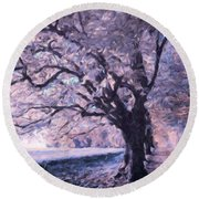 Blossoms In Winter Round Beach Towel