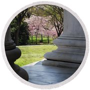 Blossoms Of The Columns Round Beach Towel