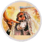 Blow The Trumpet In Zion Round Beach Towel
