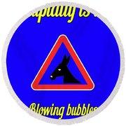 Blowing Bigstock Donkey 171252860 Round Beach Towel
