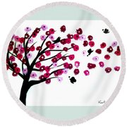 Blowing Blossoms Round Beach Towel
