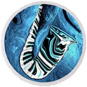 Piano Keys In A Saxophone Blue 2 - Music In Motion Round Beach Towel
