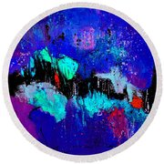 Blue Abstract 55698 Round Beach Towel