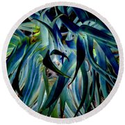 Blue Abstract Art Lorx Round Beach Towel