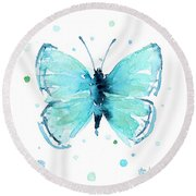 Blue Abstract Butterfly Round Beach Towel
